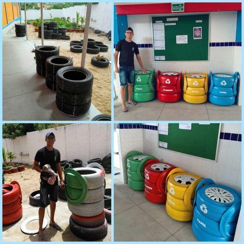 Ecología reciclando neumáticos