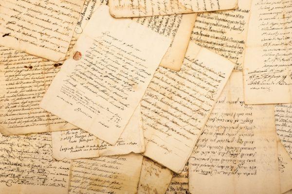 Hojas de escritos antiguos