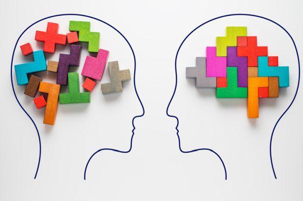 Cerebro con piezas de colores